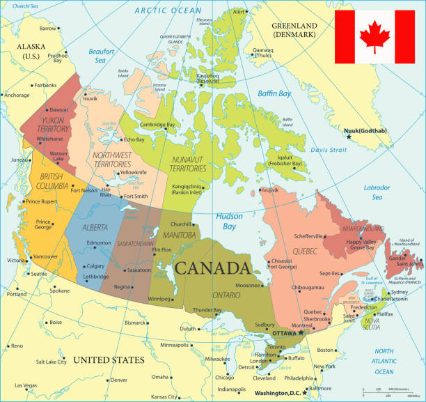 28 - Canada - Color2 10 Map of Canada - Vector illustration mississauga stock illustrations