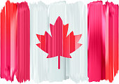 Canada colorful brush strokes painted national country Canadian flag icon. Painted texture.