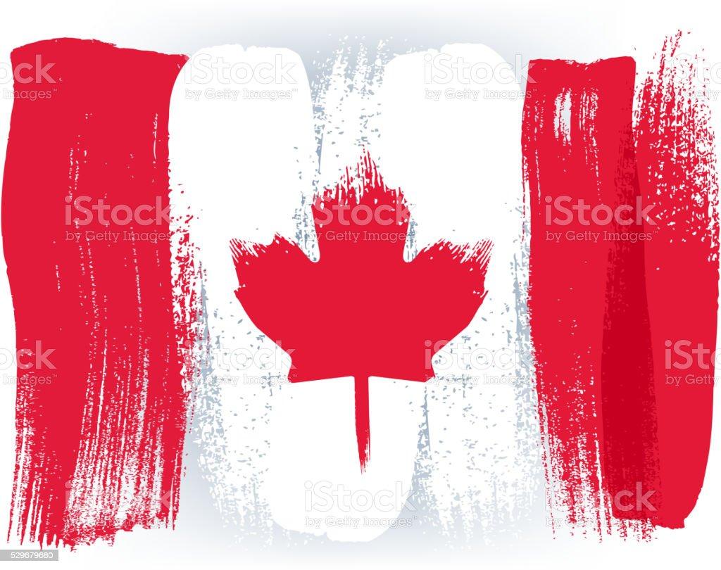 Kanada bunte mit Pinselstrichen Gemalte Flagge – Vektorgrafik