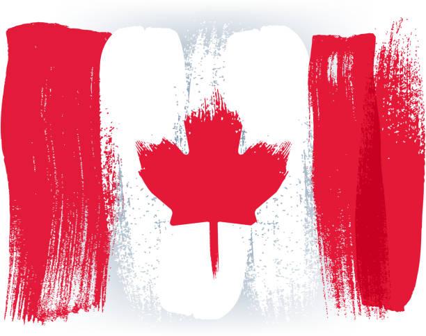 kanada bunte mit pinselstrichen gemalte flagge - flagge kanada stock-grafiken, -clipart, -cartoons und -symbole