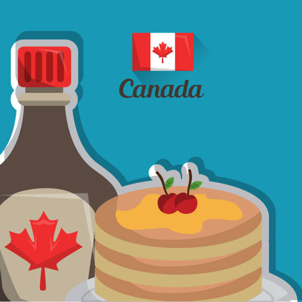 canada country american traditional food canadian pancake and maple syrup breakfast vector illustration maple syrup stock illustrations