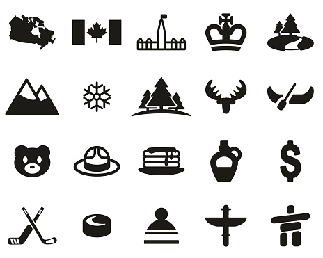 Canada Country & Culture Icons Black & White Set Big