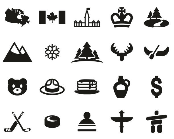 Canada Country & Culture Icons Black & White Set Big This image is a illustration and can be scaled to any size without loss of resolution. maple syrup stock illustrations