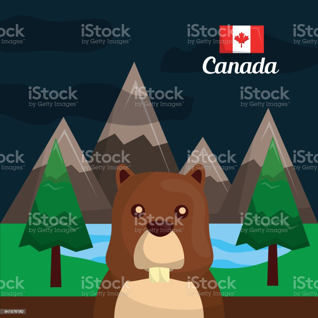 canada country symbols vector art illustration