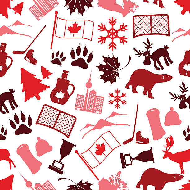 canada country theme symbols icone seamless pattern eps10 vector art illustration