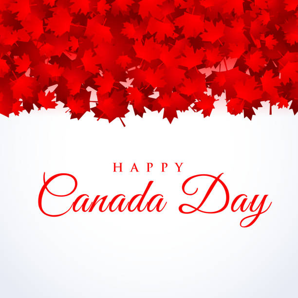 canada day background with maple leafs - canada day stock illustrations