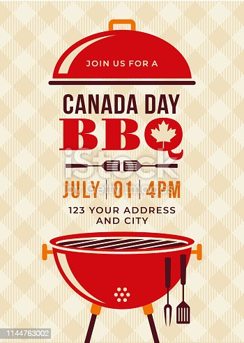 Canada Day BBQ Party Invitation - Illustration