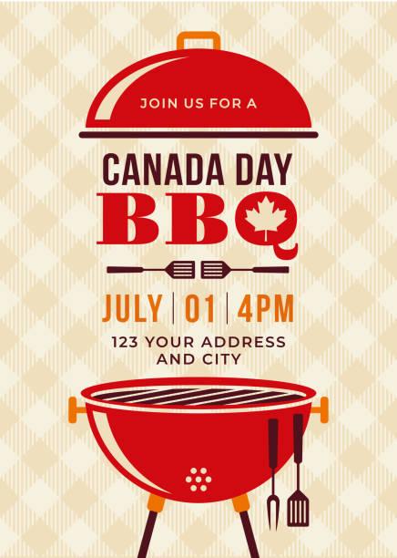 kanada dzień bbq party zaproszenie. - barbecue stock illustrations