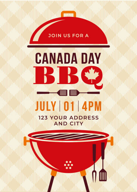 illustrations, cliparts, dessins animés et icônes de invitation fête du canada bbq party. - barbecue