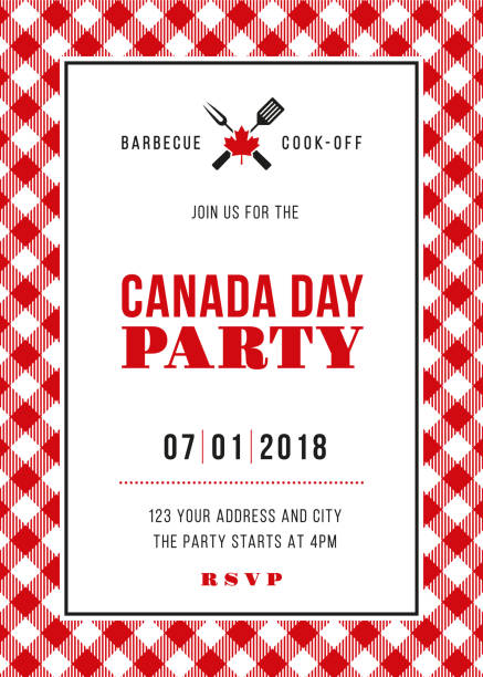 illustrations, cliparts, dessins animés et icônes de jour de canada bbq party invitation - pique nique