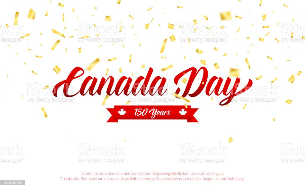 Canada Day. Canada 150 Years anniversary banner with gold falling confetti. Canada Independence Day vector art illustration