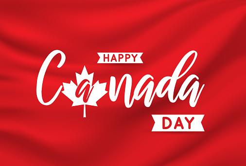 Canada Day card on elegant satin. Vector