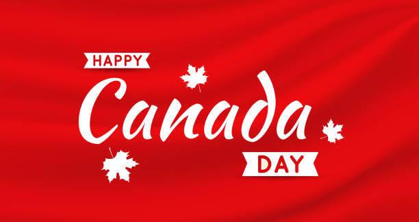 canada day card on red satin silk background. vector illustration. - canada day stock illustrations