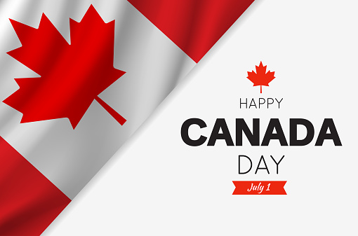 Canada Day card with Canadian flag. Vector illustration.