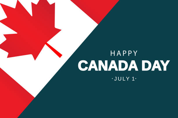 canada day card with flag. vector illustration. - canada day stock illustrations