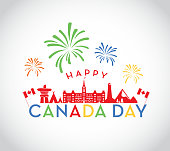 Vector illustration of a Canada Day celebration design template. Includes Canadian icons, Inuksuk, Parliament building, teepees, lighthouse, Rocky Mountains, maple leafs, Canadian flag and fireworks. Easy to edit.