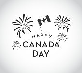 Vector illustration of a Canada Day celebration design template. Includes Canadian Canadian flag and fireworks. Easy to edit.