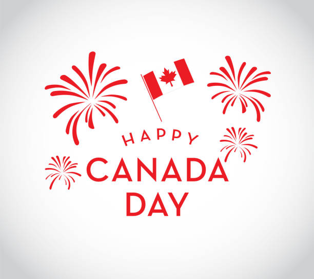 Canada Day celebration fireworks emblem design template vector art illustration
