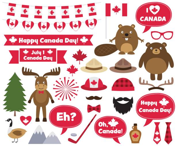 canada day design elements and photo booth props - canada day stock illustrations