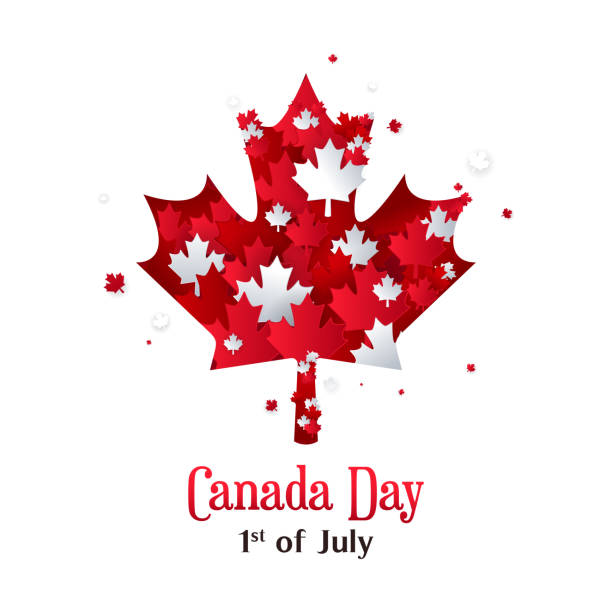canada day greeting card vector illustration. 1st of july, maple leaves paper art style. - canada day stock illustrations