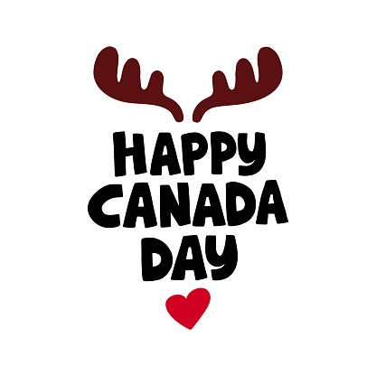 Canada Day holiday vector Illustration. Hand drawn lettering.