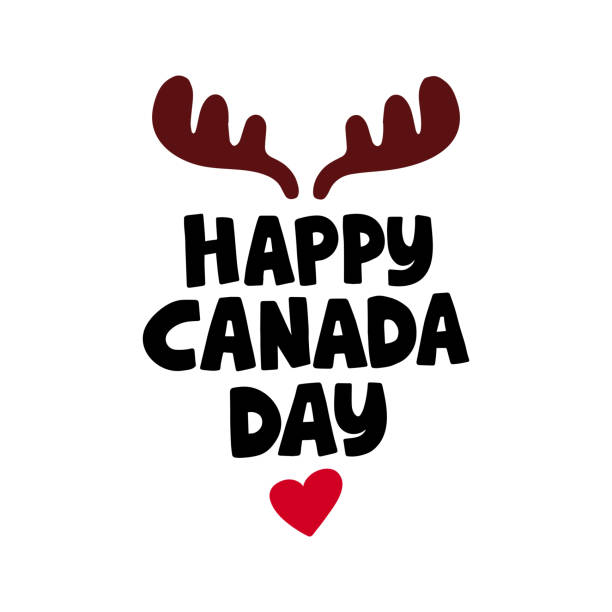 canada day holiday vector illustration. hand drawn lettering. - canada day stock illustrations
