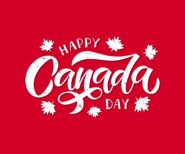 canada day holiday vector illustration. hand drawn lettering with maple leaf - canada day stock illustrations