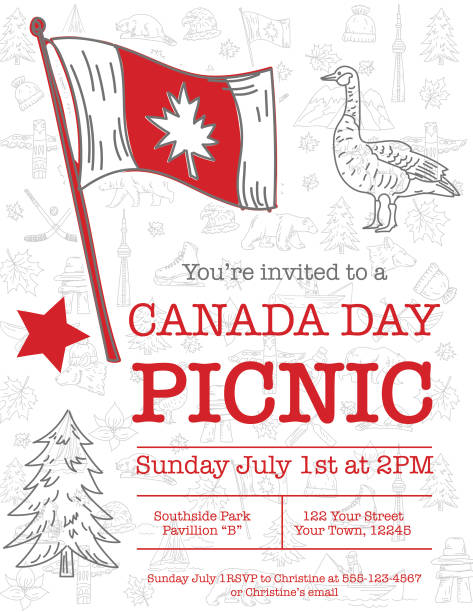 Canada Day Invitation Template With Doodled Elements vector art illustration