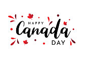 Canada Day lettering on white background. Vector illustration. EPS10