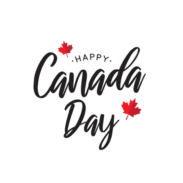 canada day lettering poster with maple leaf. vector illustration. - canada day stock illustrations