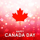 Celebrating the national day of Canada with red maple leaf icon and the sparkling maple leaf pattern on the red background