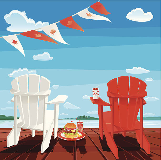 Canada Day White and Red Adirondack chair on deck with Canadian flags, burger and pop-drink in between chairs. Canada Celebration Background. Vector. EPS 8. muskoka stock illustrations