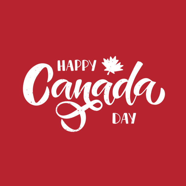 Canada Day vector Illustration. Holiday typography design for banner Canada Day holiday vector Illustration. Hand drawn lettering with maple leaf on red grunge background. Typography design for banner, advertising, poster, greeting card, social media. canada day stock illustrations