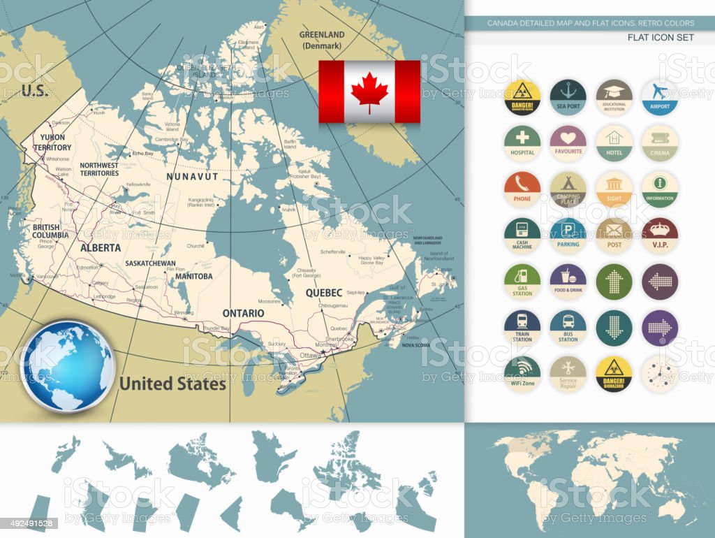 Canada Detailed Map and Flat Icons. Retro colors vector art illustration