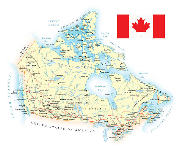 Canada - detailed map - illustration vector art illustration