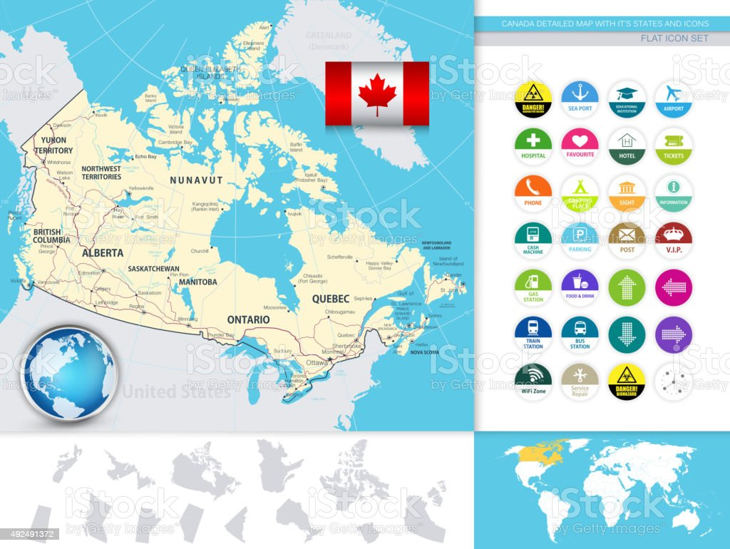 Canada Detailed Map With It's States And Flat Icons vector art illustration