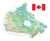 Canada - detailed topographic map - illustration