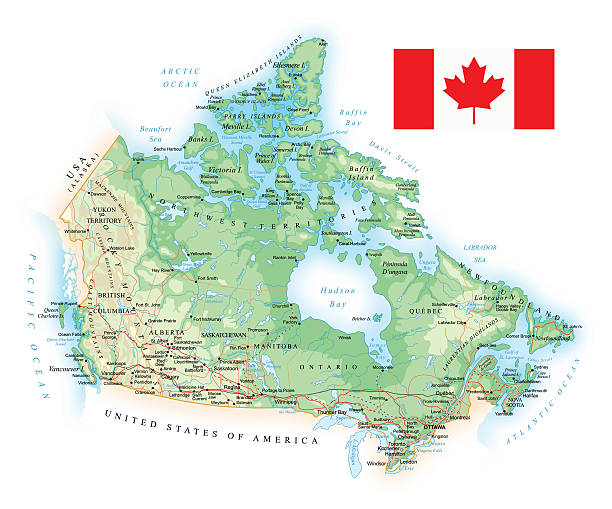 Canada - detailed topographic map - illustration Large detailed road map of Canada quebec stock illustrations