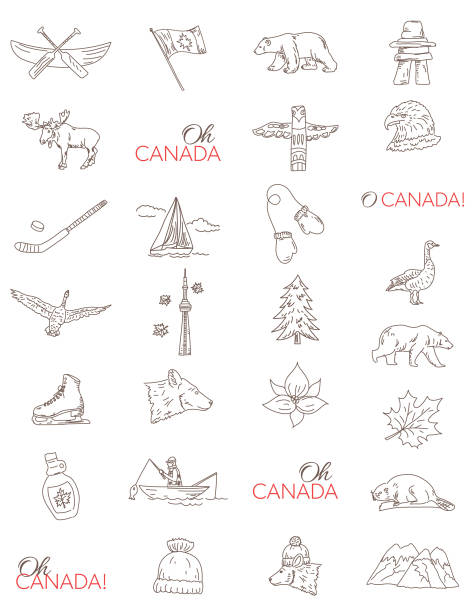 Canada Doodle Drawings Canadian Themed Doodle Icons with O Canada text. trillium stock illustrations