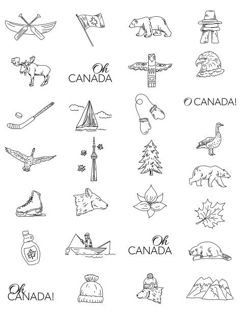 Canada Doodle Drawings Canadian Themed Doodle Icons with O Canada text. maple syrup stock illustrations