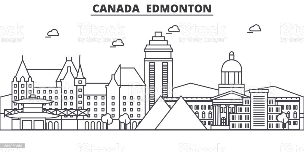 Canada, Edmonton architecture line skyline illustration. Linear vector cityscape with famous landmarks, city sights, design icons. Landscape wtih editable strokes vector art illustration