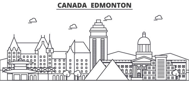 Canada, Edmonton architecture line skyline illustration. Linear vector cityscape with famous landmarks, city sights, design icons. Landscape wtih editable strokes vector art illustration