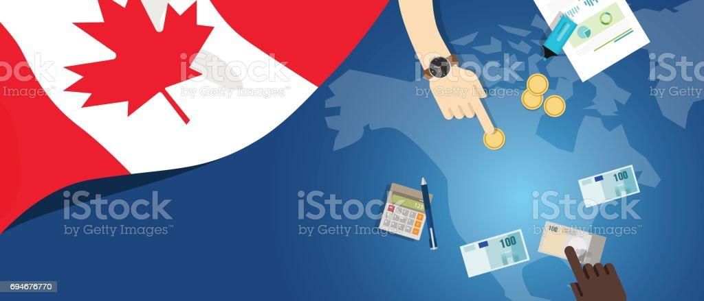 Canada fiscal money trade concept illustration of financial banking budget with flag map and currency vector art illustration