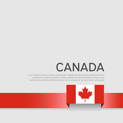 Canada flag background. Canada flag ribbon on white background. National poster. Business booklet. Vector flat design banner. State Canadian Patriotic Flyer Cover