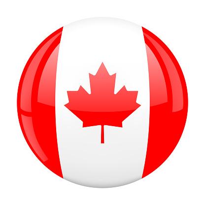 Canada Flag Glossy Button 3D vector