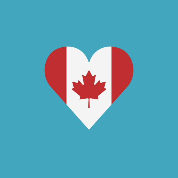 Canada flag icon in a heart shape in flat design vector art illustration