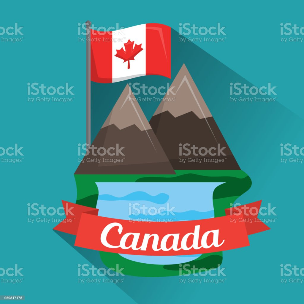canada flag map monument vector art illustration