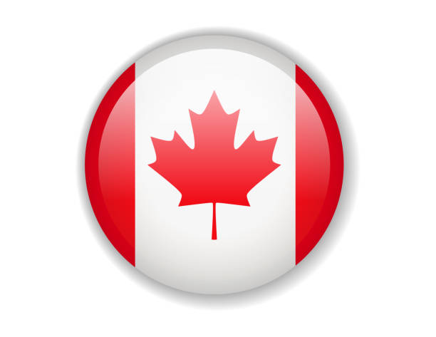 canada flag. round bright icon on a white background - canada flag stock illustrations