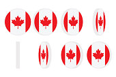 Canada flag round icon spinning. Animation sprite sheet. Isolated on white background