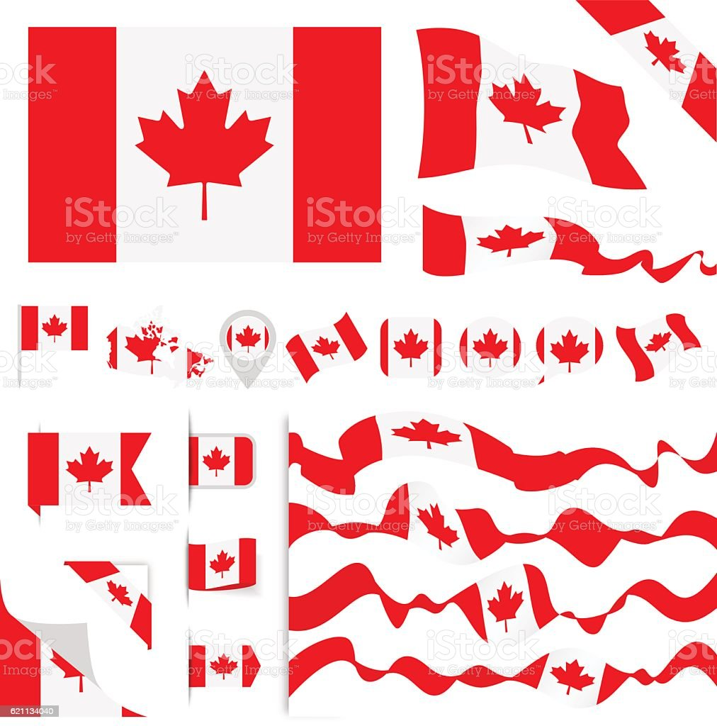 Canada Flag Set vector art illustration